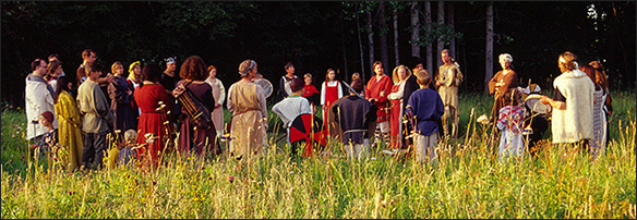 Ceremonial gathering for a pagan wedding